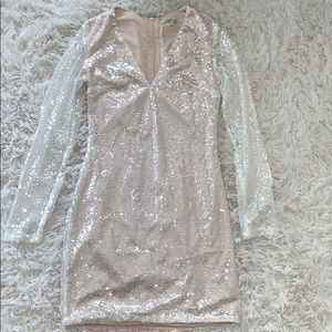 nude sequin charlotte russe dress